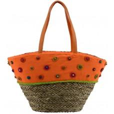 Borsa in paglia naturale arancione con fiori